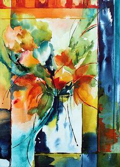 Variation sur un vase 02 (Painting),  26x36 cm by Véronique Piaser-Moyen Aquarelle originale sur papier 300G