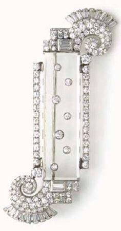 Art Deco diamond and rock crystal brooch, Van Cleef & Arpels, circa 1925 Art Deco Jewelry, I Love Jewelry, Fine Jewelry, Jewelry Design, Jewellery, Van Cleef Arpels, Van Cleef And Arpels Jewelry, Crystal Brooch, Crystal Jewelry