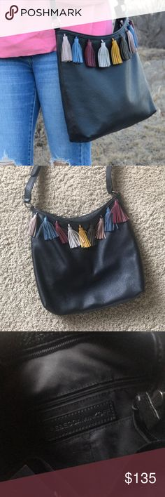 Rebecca Minkoff Crossbody! Black leather with multi-color leather tassels. Adjustable crossbody strap. Used only a few times. No scuffs, scratches or tears. Rebecca Minkoff Bags Crossbody Bags
