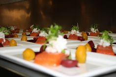 Citrus Marinated Salmon Confit w a Trio of Beetroot & Spanner Crab paired w Henry Frost 2011 Riesling, Clare Valley, S.A