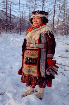 "girlinlondon: "" Ulita Elrika, an elderly Even woman from Northern Evensk, wearing traditional dress. Magadan region, E. Siberia, Russia source """
