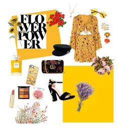 """""""Flower Power🌼"""" by perlchenmerlchen ❤ liked on Polyvore featuring Vikki Chu, Glamorous, Boohoo, Gucci, Casetify, Manokhi, Venus, Effy Jewelry, Chanel and Axiology"""