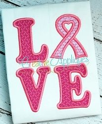 Love Awareness Ribbon 2 Applique - 4 Sizes! | What's New | Machine Embroidery Designs | SWAKembroidery.com Creative Appliques