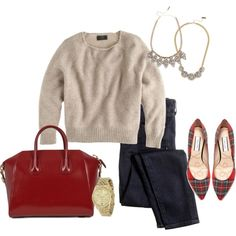 Red Tartan by angela-reiss on Polyvore featuring J.Crew, Lucy Choi London, Givenchy, Michael Kors and BaubleBar