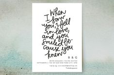 """You Smiled Because You Knew"" - Whimsical & Funny, Bold typographic Engagement Party Invitations in Cotton by Phrosne Ras. Engagement Party Invitations, Wedding Invitation Cards, Wedding Thank You Cards, Engagement Parties, 8th Wedding Anniversary Gift, Wedding Expenses, Inexpensive Wedding Venues, Destination Wedding Planner, Smile Because"