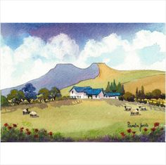 Limited Edition Watercolour Print ~ Farm In The Brecon Beacons Wales on eBid United Kingdom
