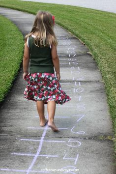 Practice addition on an outdoor number line!