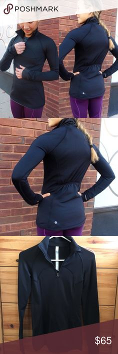 Lululemon First Mile Half Zip Pullover Worn once Size 2 Black BRUSHED WITH FLEECE INSIDE TO KEEP YOU WARM Half zip Small size zipper pocket Cinched back for shape  Sold out  Price is firm lululemon athletica Tops Tees - Long Sleeve
