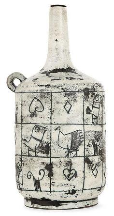 JACQUES BLIN (1920-1996) A green glazed earthenware bottle shaped lamp base