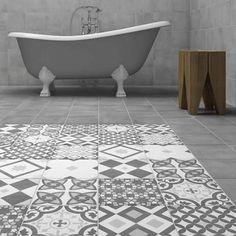 Grey tiles and patterned floor Vibe Light Blue Patterned Wall and Floor Tiles - 223 x In Bathroom Image Blue Bathroom Decor, Small Bathroom Tiles, Grey Bathrooms, White Bathroom, Bathroom Flooring, Bathroom Wall Panels, Simple Bathroom, Bathroom Accessories, Floor Patterns
