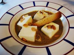 Set Curd Squares with Walnut Sauce