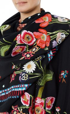 Jimi Embroidery Scarf - New Arrivals - Crafted from 100% fine wool, this Jimi Embroidery Scarf perfect encapsulates the bohemian mood of the collection. Draped artfully over your shoulders, this dramatic black accessory, delicately appliqued with flora and fauna, will add a spirited touch to day or evening wear.