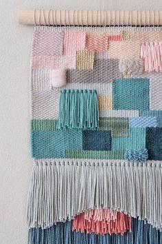 Tapiz de lana de colores - accesorios y decoraci�n para el hogar - hecho a mano - en DaWanda.es