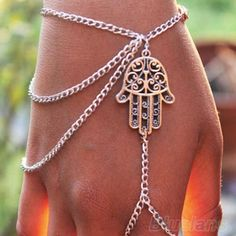 Hot 2014 Asymmetric Mens fashion Women Hamsa Fatima Finger Ring Slave Chain Hand Harness US $1.50