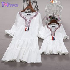 Buy Mom Girl Ruffle Sleeve Tassels Tiered Dress online with cheap prices and discover fashion Mommy & Me at Popreal.com.