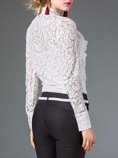 Cuello de la camisa de dos piezas con paneles de manga larga blusa de encaje