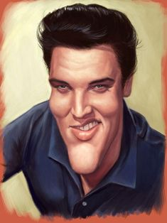 Elvis Presley -- Caricatures by Mark Hammermeister Funny Caricatures, Celebrity Caricatures, Celebrity Drawings, Cartoon Faces, Funny Faces, Cartoon Art, Elvis Presley, Caricature Artist, Caricature Drawing