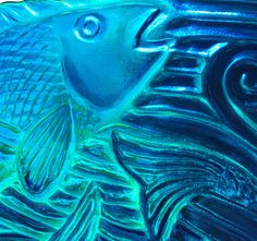 Fish Art Glass Ocean Art FISH AND WAVES by TightLineGlass on Etsy