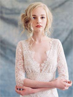 'Romantique' Low Key & Super Pretty Wedding Gowns by Claire Pettibone – wedding gown White Bridal Dresses, Little White Dresses, Boho Wedding Dress, Bridal Gowns, Bridal Shoot, Gown Wedding, Bridal Lace, Mermaid Wedding, Wedding Hair
