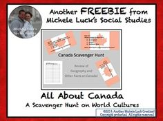Canada Scavenger Hunt Task Card Activity for Human Geography Geography Of Canada, Human Geography, All About Canada, Study History, Learning Centers, Book Authors, Task Cards, Teaching Math, Social Studies