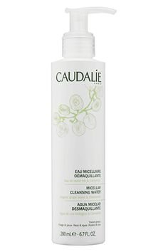 """""""Thanks to the advice of a coworker (and my inherent laziness), I rarely wash my face anymore. This micellar water feels refreshing, smells delicious, and completely cleans my face in a few pumps.""""Caudalíe Micellar Cleansing Water, $28, available at Sephora. #refinery29 http://www.refinery29.com/evening-routine-skin-care#slide-18"""