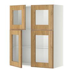 IKEA - METOD, Él mur+tblts/4p vit, blanc, Hyttan plaqué chêne, , Vous pouvez choisir l'espacement qui vous convient car la tablette est réglable en hauteur.Structure de construction solide - 18 mm d'épaisseur.Charnières à clipser qui se montent sur la porte sans vis. Permet d'enlever aisément la porte pour l'entretien.