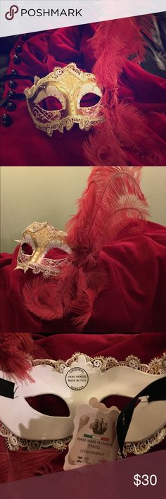 Venetian Masquerade Mask Beautiful hand-painted Italian masquerade mask. Gold and cream with hints of burgundy along the cheeks. Edged with gold and cream lace. Wine-colored feathers curl along one side with black satin ribbons that tie in the back. Never been worn. Other