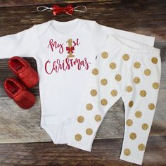 "Girls Christmas Legging Outfit | ""My 1st Christmas"" Top w/ Gold Dot Leggings 