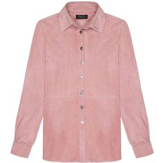 VEIL LONDON - Baby Pink Suede Shirt ($540) ❤ liked on Polyvore featuring tops, baby pink top, red top, loose shirts, shirt top and suede shirt