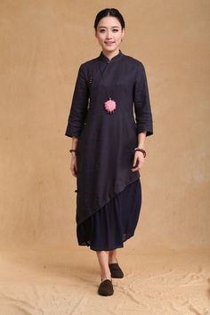 Chinese folk style button Neck Spring dress Half Sleeve Sundress Maxi Dresss in Dark Blue(more colour and size choice)-NS26 on Etsy, ฿2,766.33