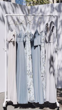 Simply stunning hues of blue and grey! Jenny Yoo Collection Bridesmaids, featuring high halter neck details, vintage ins Summer Wedding, Dream Wedding, Lace Wedding, Wedding Vows, Wedding Reception, Stem Challenge, Vintage Inspiriert, Before Wedding, Prom Dresses