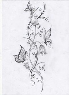 Butterflies and Tulips sketch