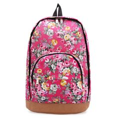 Sale 17% (11.98$) - Retro Canvas Rose Flower Travel Rucksack School Bag Shoulder Backpack