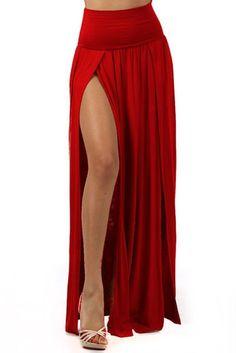 941668ce57 High Split Banded Waist with Double Leg Two Split Full Length Curtain Maxi  Skirt