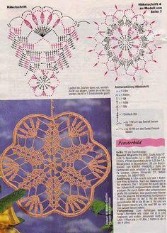 FiletHakeln Sonderheft - FI 230 Hakeln-Ideen - Aypelia - Álbuns da web do Picasa.These would be pretty hanging in the windows! Crochet Stitches Chart, Free Crochet Doily Patterns, Crochet Snowflake Pattern, Crochet Stars, Crochet Snowflakes, Diy Crochet, Knitting Stitches, Crochet Doilies, Crochet Flowers