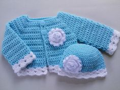Crochet baby hat and sweater cardigan set, turquoise sweater baby girl gift, baby shower gift, photo prop, baby turquoise white sweater hat Crochet Baby Sweaters, Crochet Baby Boots, Crochet Baby Clothes, Baby Knitting, Booties Crochet, Cotton Crochet, Crochet Hats, Crochet Designs, Crochet Patterns