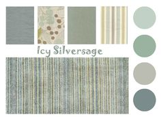 Color-board-Icy-Silversage: These muted grey, slate, & seafoam hues create a quiet confidence that would be perfect for a bedroom or sitting area. This color palette offers layers of soft & understated fabrics for upholstery & pillows or for bed linens galore. Any combination of the selected paint colors would be perfect for the wall paint or for select painted pieces to accent the color scheme / the Distinctive Cottage