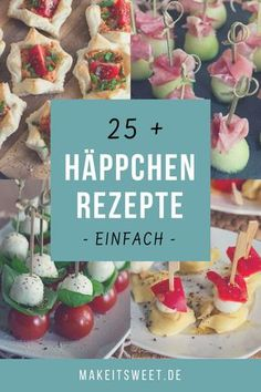 Snacks and finger food - Häppchen und Fingerfood – MakeItSweet.de Simple recipes for appetizers and finger food. Ideal for the next party, buffet or when visitors come. Party Finger Foods, Snacks Für Party, Appetizers For Party, Appetizer Recipes, Dessert Recipes, Desserts, Party Recipes, Simple Appetizers, Fingerfood Party