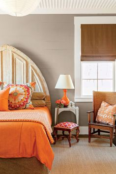 """[Nos. 30-33] The Master Bedroom - Smaller But Smarter Cottage With Style - Southernliving. """"I never let a perfectly good piece of scrap material go to waste.""""    - P. Allen Smith  Love It? Get It!Bed: Church Architectural Salvage Arch Headboard"""