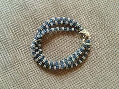 Gorgeous set of 3 denim blue Swarovski Crystal bracelet with silver accents by RealBeadDesigns on Etsy