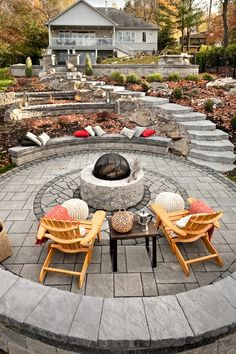 Terraced Backyard with fire pit. I just like this concept. Sure could never replicate it!