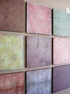 Wall Art - Styrofoam Squares with Scrapbooking Paper