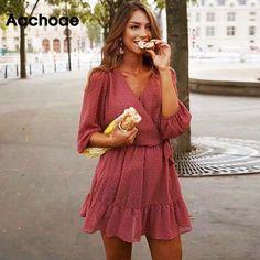 Aachoae 2020 Summer Women Ruffles Lace Chiffon Dress Boho Mini Beach Dress Three Quarter Sleeve Ladies Party Dresses Vestido - Dress Up Markt Vestidos Chiffon, Mini Vestidos, Chiffon Dresses, Boho Mini Dress, Pink Mini Dresses, Pink Dress, Chiffon Ruffle, Ruffle Dress, Chiffon Fabric
