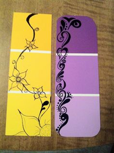 DIY doodle bookmarks for Karen& Zentangle and Home Depot& paint chip cards! Paint Chip Cards, Paint Sample Cards, Paint Samples, Diy Bookmarks, How To Make Bookmarks, Doodles Zentangles, Zentangle Patterns, Home Depot Paint, Bookmarks