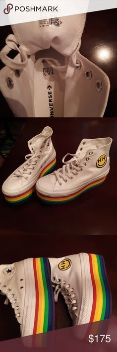 12de9150ba08a2 Miley cyrus high top rainbow converse Purple soles