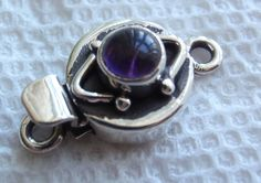 Box Clasp Sterling Silver Small Round Amethyst by cutterstone. $15.00 USD, via Etsy.