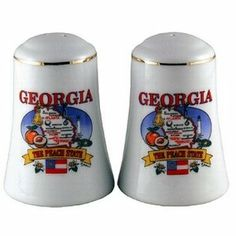"Georgia Salt and Pepper set Set State Map Case Pack 48 by DDI. $205.40. All of the products showcased throughout are 100% Original Brand Names. 100% SATISFACTION GUARANTEED. Please refer to the title for the exact description of the item. Georgia Salt And Pepper Set. Each Piece Is 3"""""""" H X 2"""""""" W. State Map"""" Case Pack 48 Please note: If there is a color/size/type option, the option closest to the image will be shipped (Or you may receive a random color/size/type)."