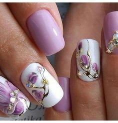 Beautiful Lilac Nail Enamel designed with floral and stud signature style for any special event.