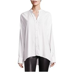 Helmut Lang Crossback Shirt (1.160 BRL) ❤ liked on Polyvore featuring tops, button downs, white, button down top, white shirt, button up shirts, button-down shirt and white button down shirt