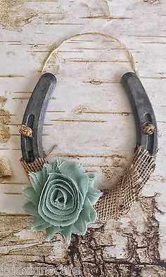 Shabby Chiffon Horseshoe, Burlap & Sage Green Flower, Wedding Gift, Handcrafted